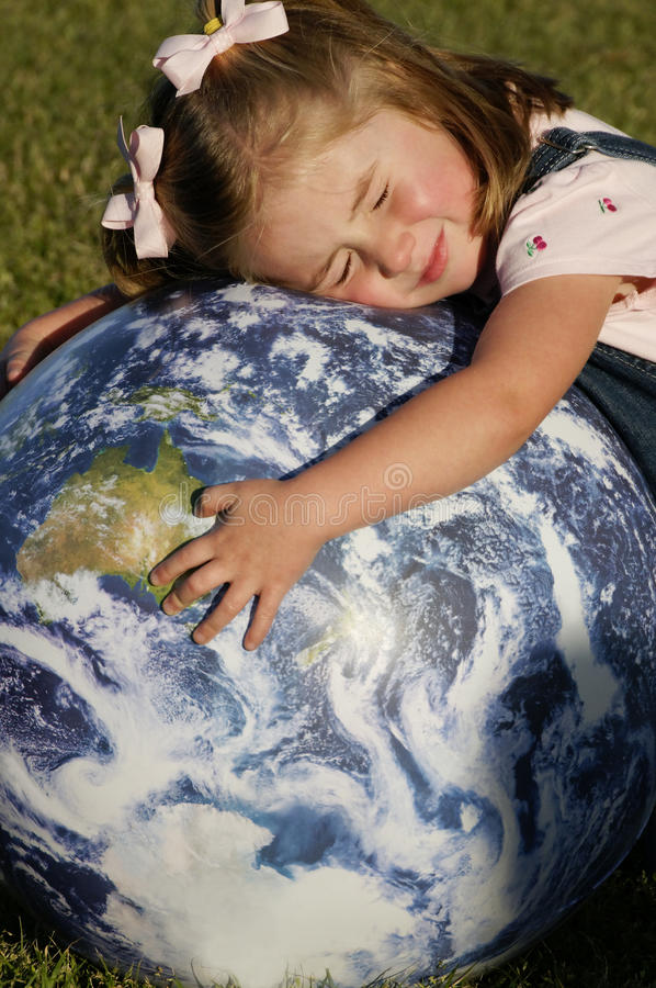 C - Three Year Old Girl with Earth 13 stock image