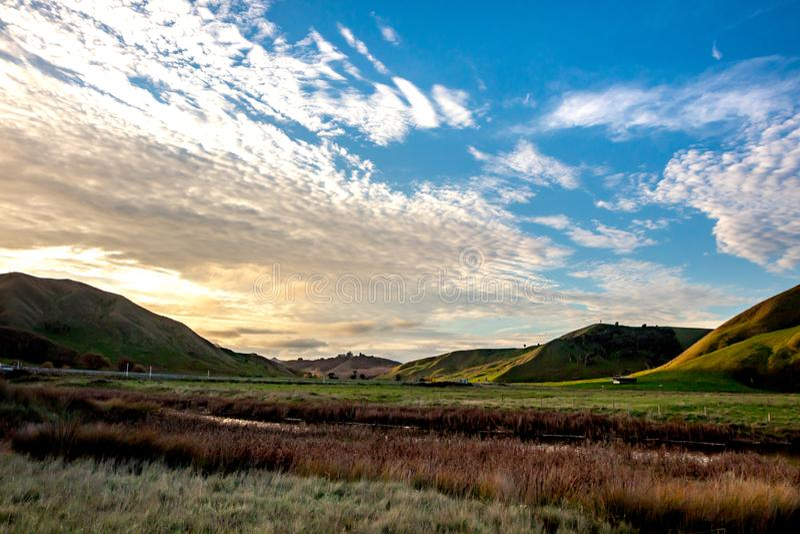 C?tier, rural, paysage ? la plage de Pouawa, pr?s de Gisborne, C?te Est, ?le du nord, Nouvelle-Z?lande photographie stock