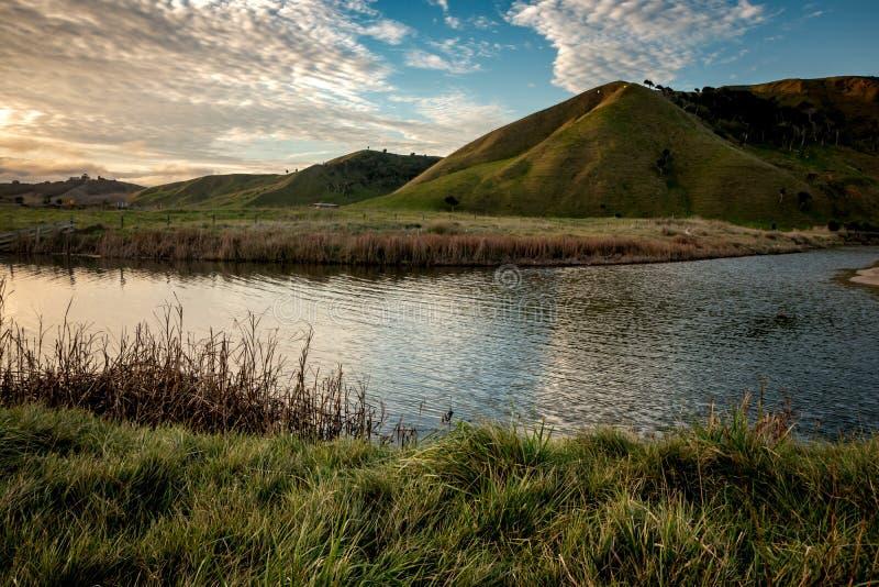C?tier, rural, paysage ? la plage de Pouawa, pr?s de Gisborne, C?te Est, ?le du nord, Nouvelle-Z?lande photos stock