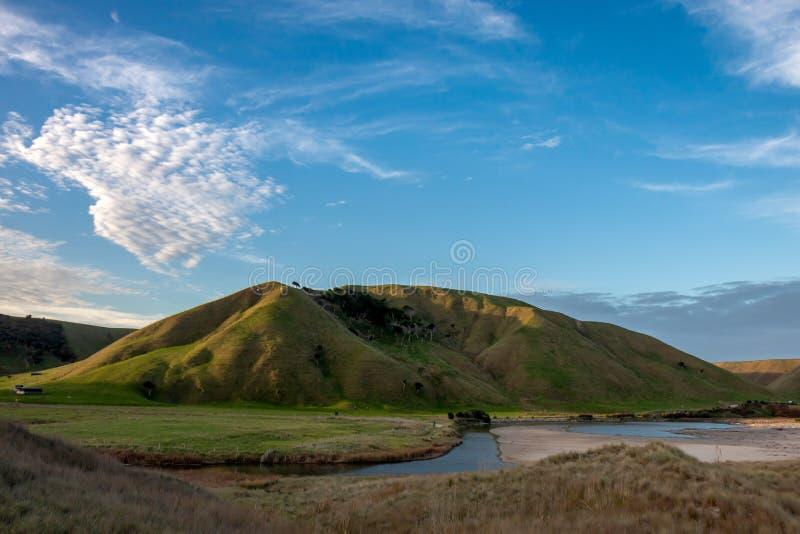 C?tier, rural, paysage ? la plage de Pouawa, pr?s de Gisborne, C?te Est, ?le du nord, Nouvelle-Z?lande image stock