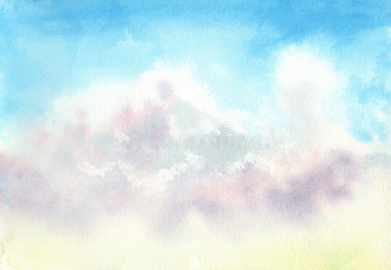 C?u azul com nuvens Fundo azul abstrato Ilustra??o da aguarela ilustração stock