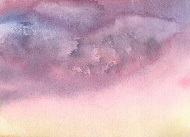 C?u azul com nuvens Fundo azul abstrato Ilustra??o da aguarela ilustração royalty free
