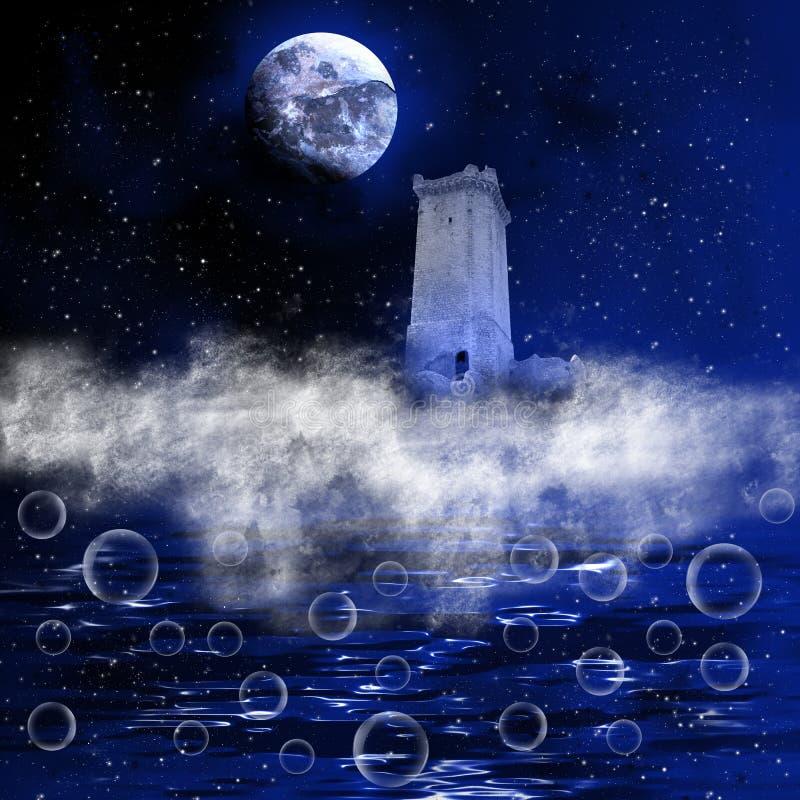 C?u nocturno da fantasia ilustração do vetor