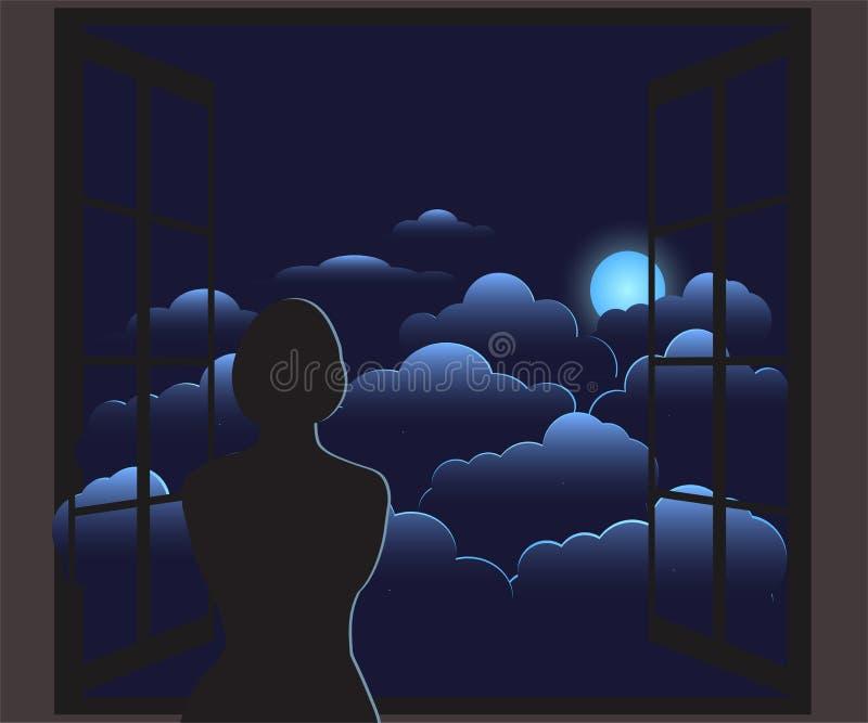 C?u nocturno ilustração stock