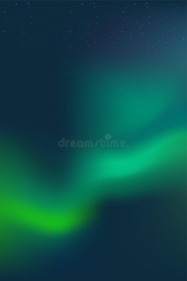 C?u noturno, Aurora Borealis, efeito da aurora boreal, luzes polares coloridas real?sticas Ilustração do vetor, projeto de espaço ilustração stock