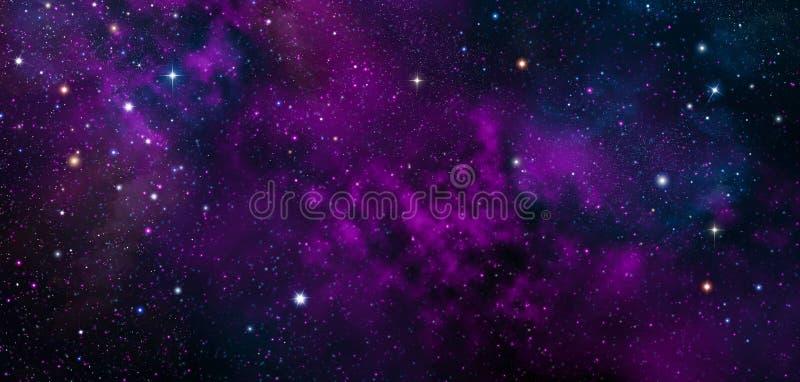 C?u noturno - universo enchido com as estrelas, a nebulosa e a gal?xia ilustração do vetor
