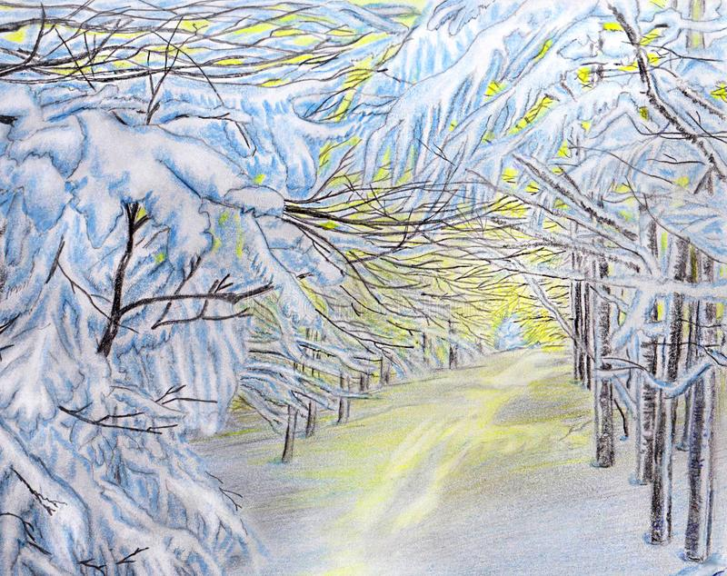 33c ural χειμώνας θερμοκρασίας της Ρωσίας τοπίων Ιανουαρίου Χιονισμένοι κλάδοι στο φως του ήλιου Μεσημέρι Ιανουαρίου διανυσματική απεικόνιση