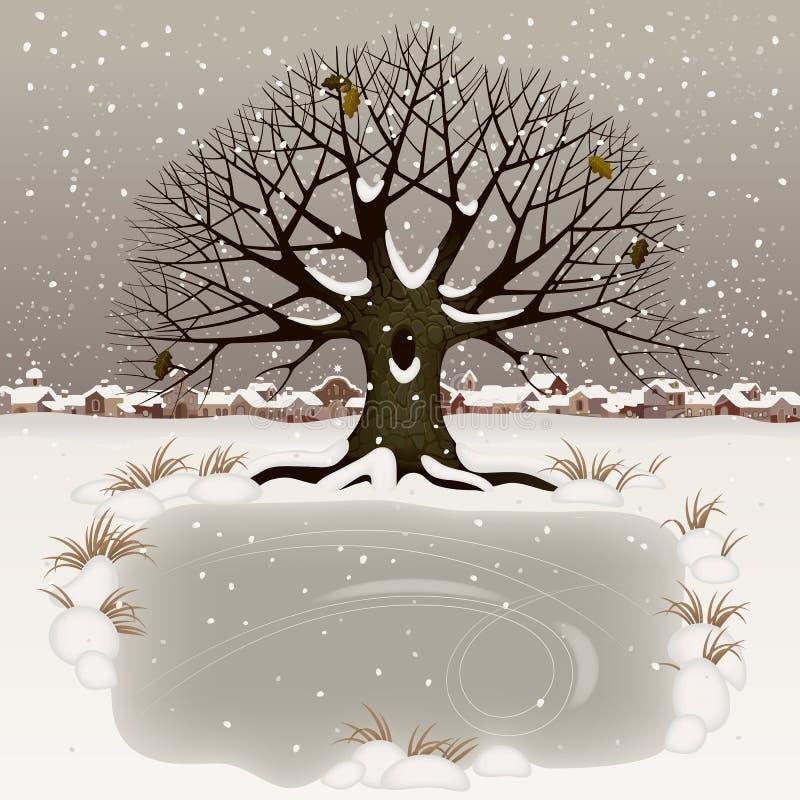 33c ural χειμώνας θερμοκρασίας της Ρωσίας τοπίων Ιανουαρίου διανυσματική απεικόνιση