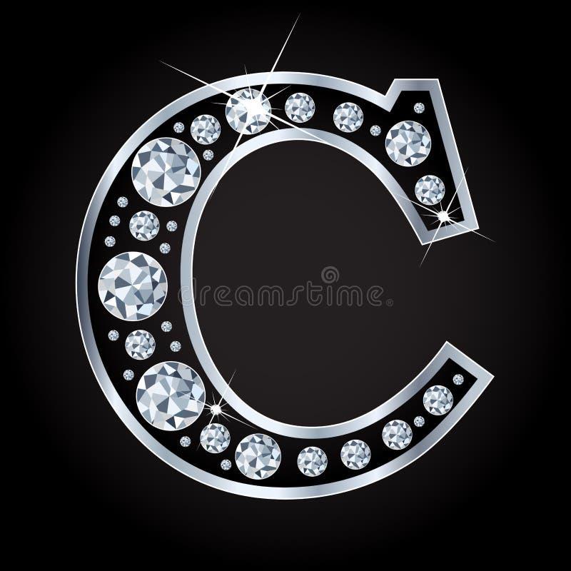 C vectordiebrief met diamanten wordt gemaakt op zwarte achtergrond worden geïsoleerd royalty-vrije illustratie