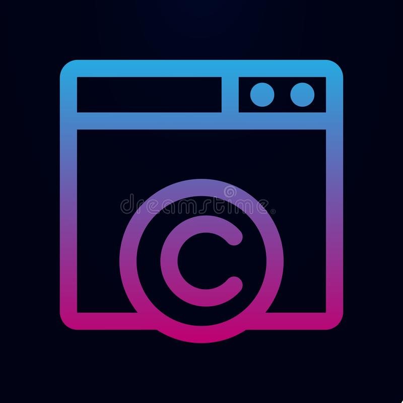 C web site nolan icon. Simple thin line, outline vector of Mix icons for ui and ux, website or mobile application. On dark gradient background royalty free illustration
