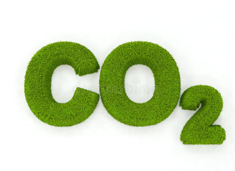 C02 grass letters. The letters C02 formed in grass, natural appearance, isolated on white background stock illustration