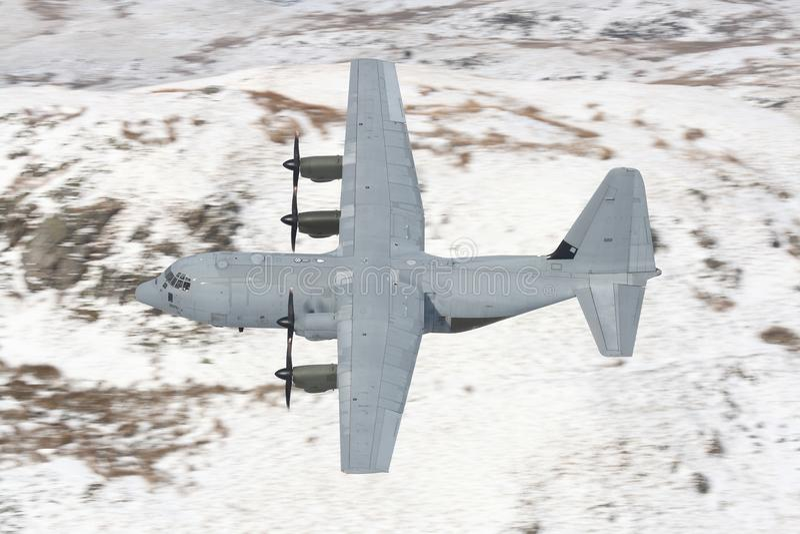 C130 Hercules en sneeuw stock afbeelding