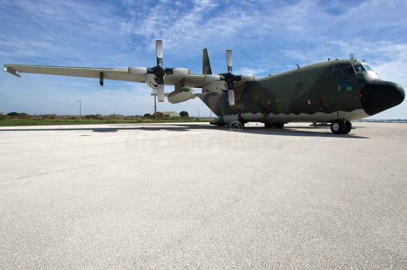 C130 on the runway royalty free stock photography