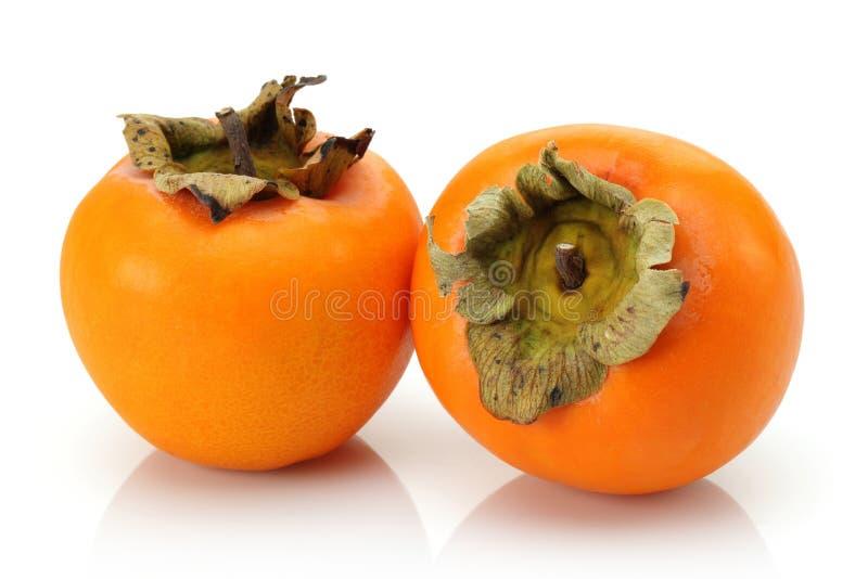 Całe persimmon owoc na białym tle zdjęcia royalty free