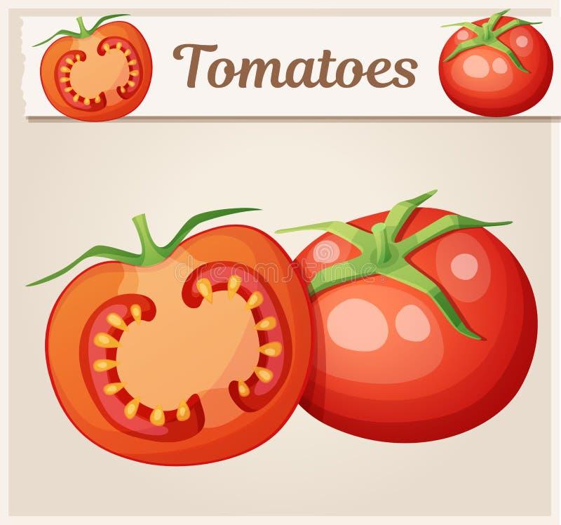 Całość i połówka pomidorowy warzywo Kreskówka wektoru ikona Serie jedzenie, napój i składniki dla gotować ilustracja wektor