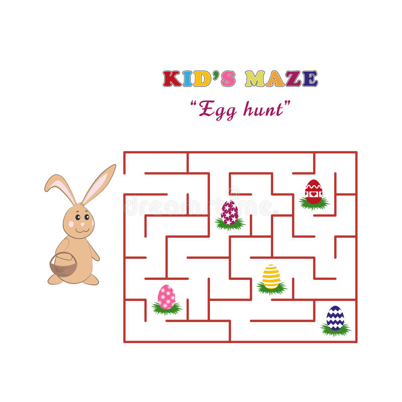 Caça do ovo do labirinto do ` s da criança com um coelho bonito de easter Labirinto do ` s das crianças no estilo dos desenhos an ilustração royalty free