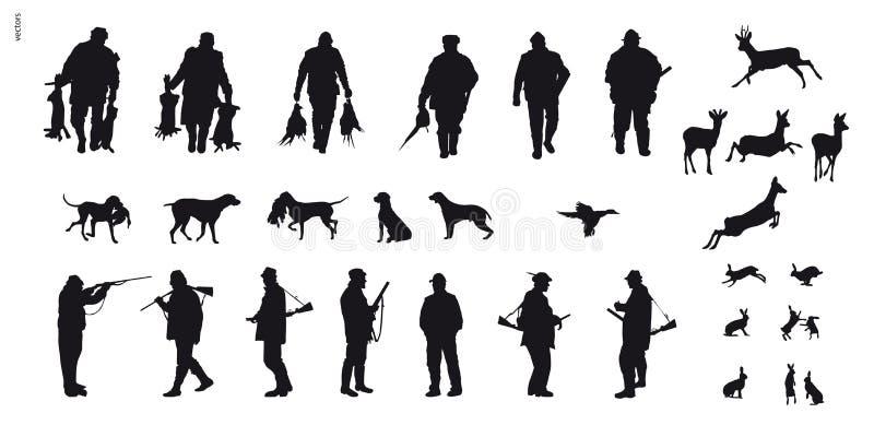 Caça a motor dos animais e do landscapes1 ilustração do vetor