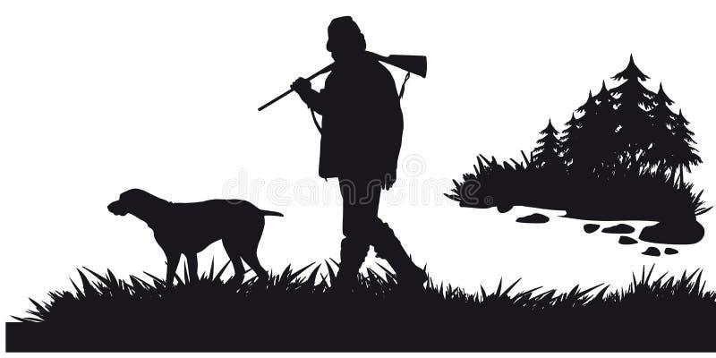 Caça a motor dos animais e do landscapes10 ilustração do vetor