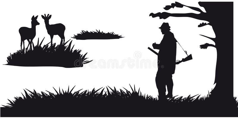 Caça a motor dos animais e do landscapes11 ilustração stock
