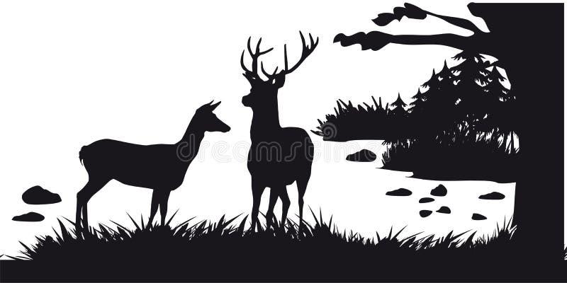 Caça a motor dos animais e do landscapes23 ilustração do vetor