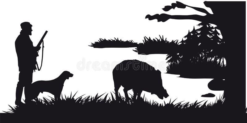 Caça a motor dos animais e do landscapes26 ilustração stock