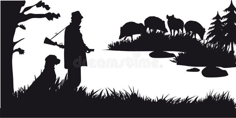 Caça a motor dos animais e do landscapes27 ilustração do vetor