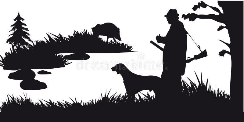 Caça a motor dos animais e do landscapes28 ilustração stock