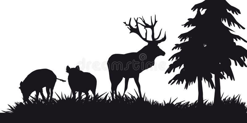 Caça a motor dos animais e do landscapes29 ilustração stock