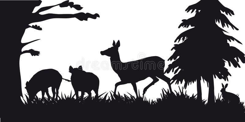 Caça a motor dos animais e do landscapes30 ilustração royalty free