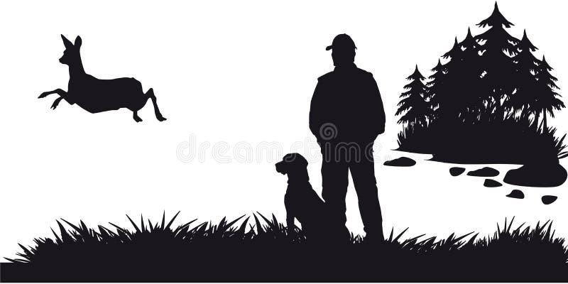 Caça a motor dos animais e do landscapes6 ilustração do vetor