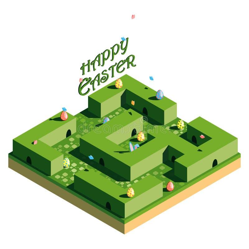 Caça para ovos da páscoa O labirinto verde em que o coelhinho da Páscoa escondeu Borboletas felizes da Páscoa e do voo da inscriç ilustração stock