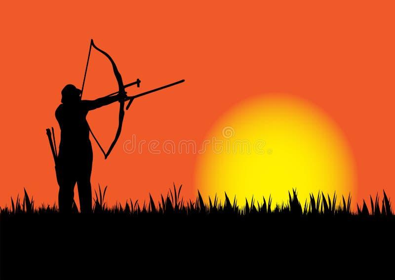 Caça quando o sol for para baixo ilustração do vetor