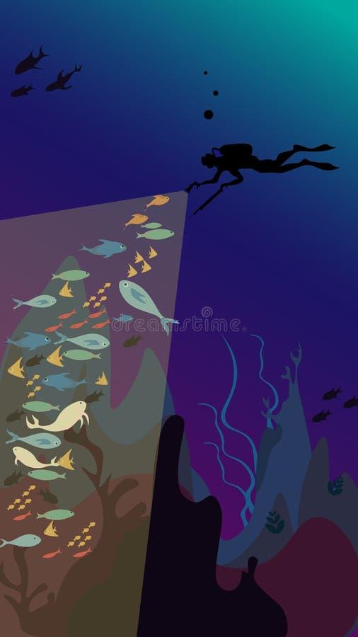 Caça subaquática - o spearfisher mergulha sob o mar e considera muitos peixes com lanternas elétricas ilustração do vetor