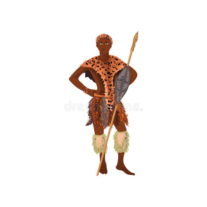 Caçador africano do homem do aborígene na roupa do couro do tigre ilustração royalty free