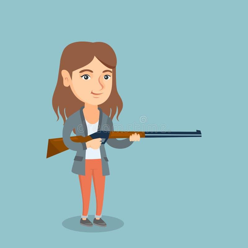 Caçador caucasiano novo que guarda um rifle da caça ilustração stock