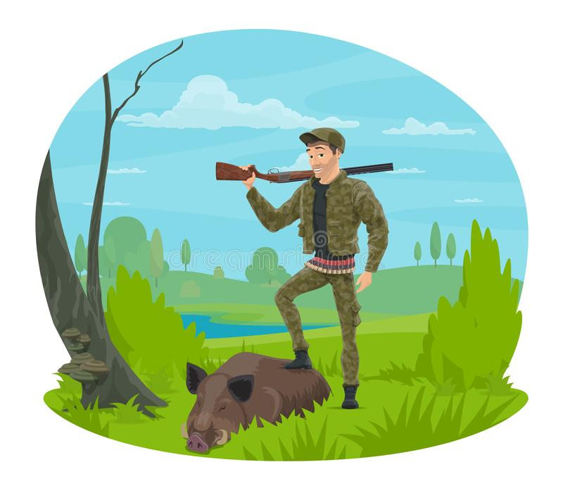 Caçador com ícone dos desenhos animados do varrão do rifle e do troféu ilustração stock