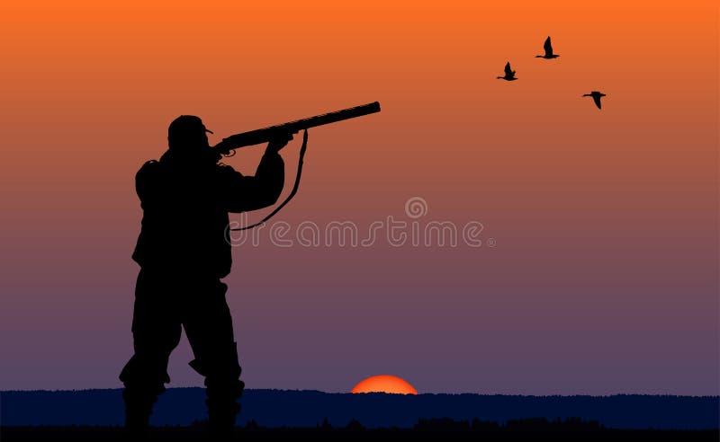 Caçador com a arma no fundo do por do sol ilustração royalty free