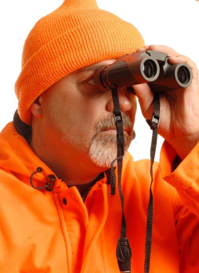 Caçador com binóculos imagens de stock