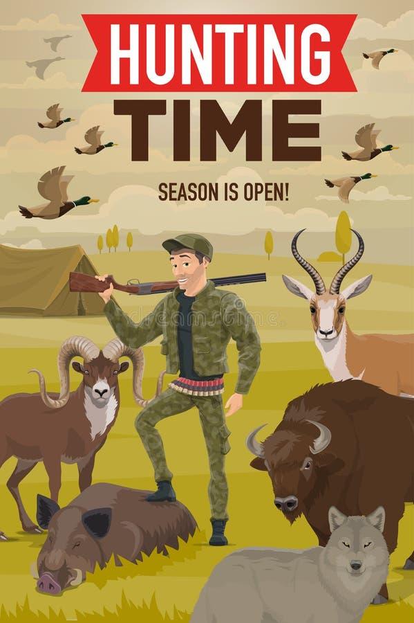 Caçador com caça do troféu, da arma, dos animais e dos pássaros ilustração stock