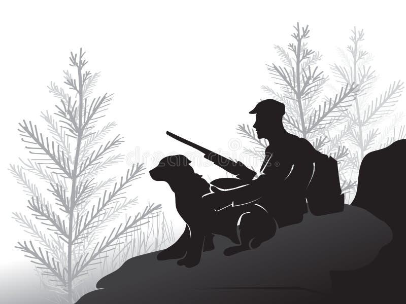 Caçador com um cão que senta-se em uma grande pedra O homem que guarda a arma Caça da floresta do pinho para o galo silvestre Épo ilustração royalty free