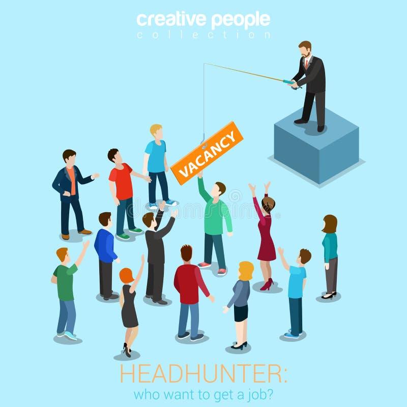 Caçador de cabeças que fising para candidatos ilustração stock