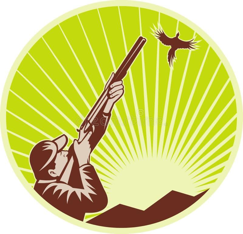 Caçador do jogo do pássaro com espingarda ilustração stock