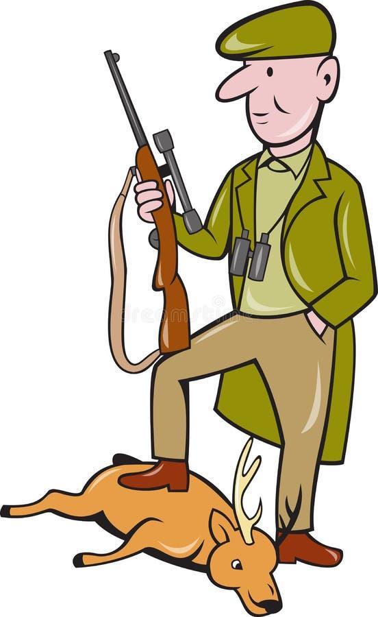Caçador dos desenhos animados com o rifle que está em cervos ilustração royalty free