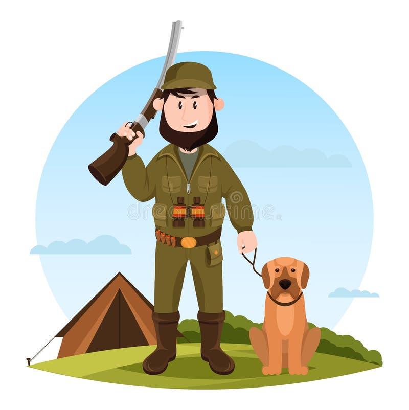Caçador dos desenhos animados com rifle e cão de caça ilustração do vetor
