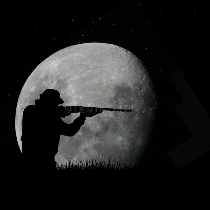 Caçador e Lua cheia dos cervos ilustração royalty free