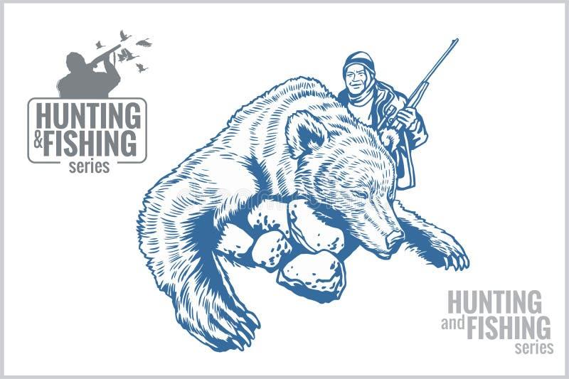 Caçador e urso - ilustração do vintage ilustração do vetor