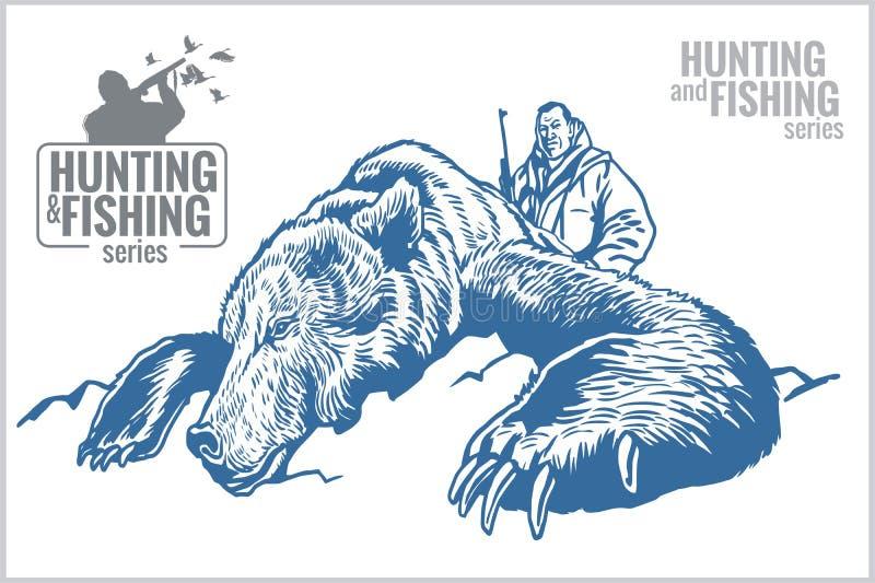 Caçador e urso - ilustração do vintage ilustração stock