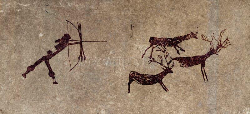 Caçador pré-histórico - reprodução da pintura de caverna ilustração stock