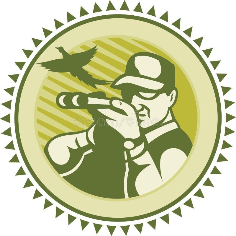 Caçador que aponta o pássaro do faisão do rifle da espingarda ilustração do vetor