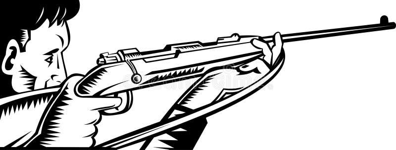 Caçador que aponta um rifle ilustração stock